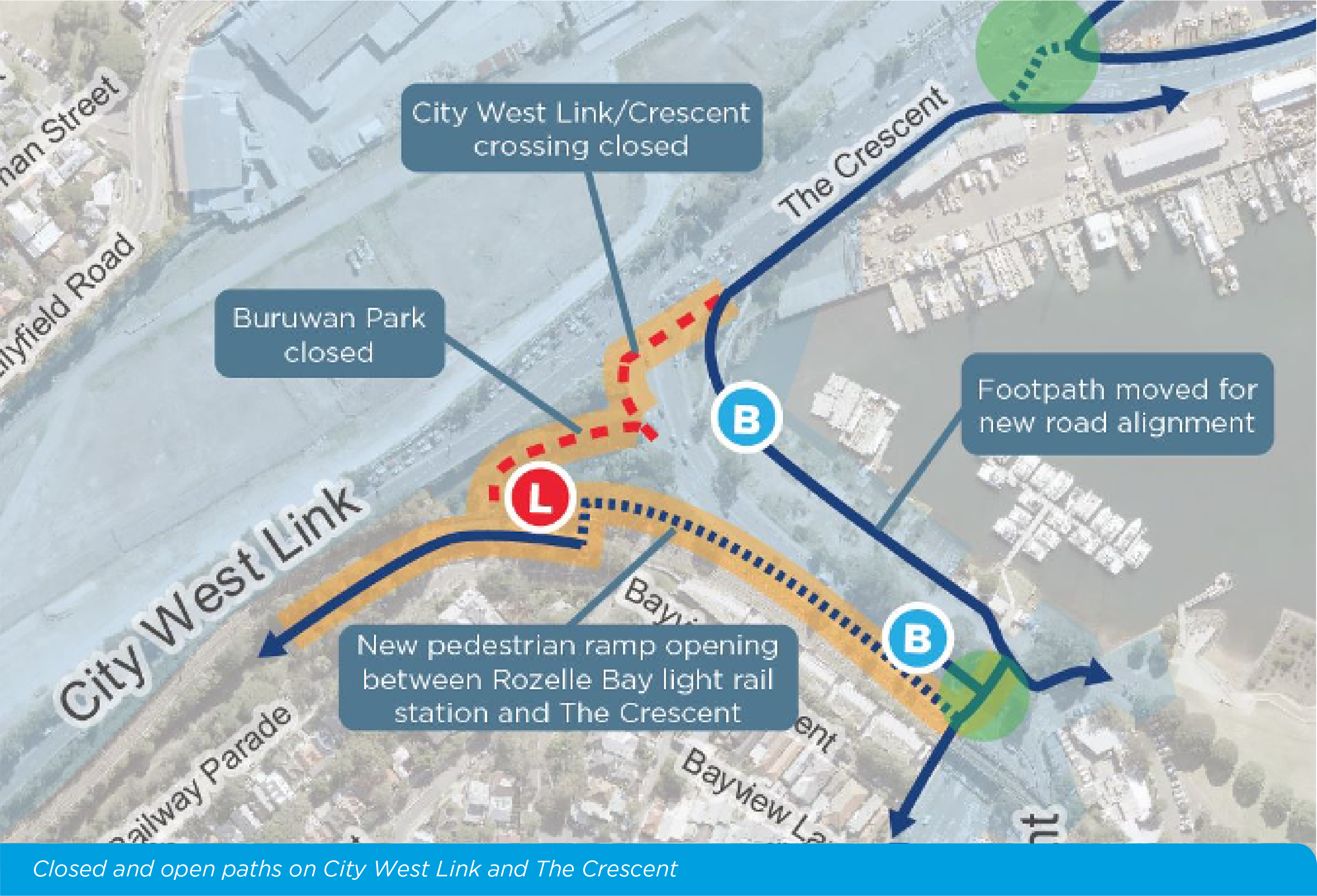 Closed And Open Paths On City West Link And The Crescent